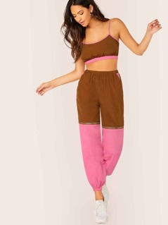 Colorblock Bra Top And Zip Away Pants