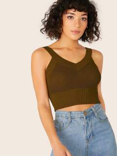 V-Neck Ribbed Edge Knitted Crop Tank Top