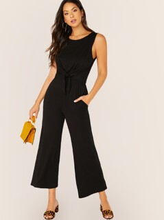 Tie Front Sleeveless Jumpsuit With Pockets