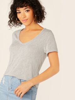 Scoop Neck Slub Knit Short Sleeve T-Shirt