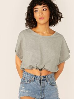 Drawcord Hem Slub Knit Crop Short Sleeve T-Shirt