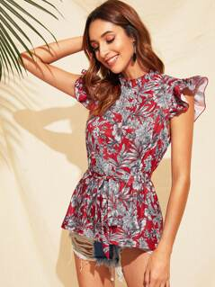 Mock Neck Ruffle Armhole Floral Print Belted Blouse