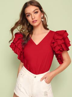 Layered Exaggerated Ruffle Sleeve Top