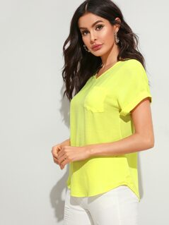 Neon Yellow Patch Pocket Cuffed Sleeve Top