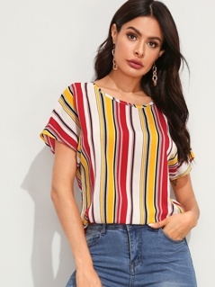Batwing Sleeve Striped Top