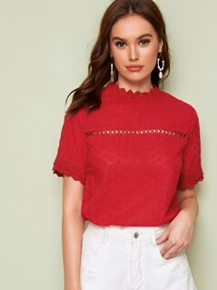 Lace Insert Solid Schiffy Top