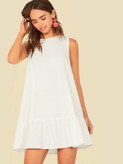 Фото 7 - Атласное платье с пышными рукавами и поясом от SheIn цвета хаки