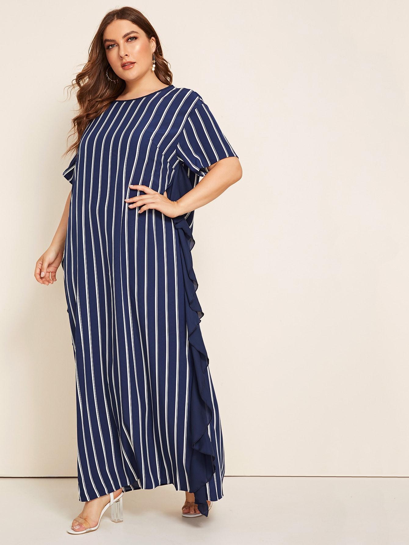 Фото - Платье в полоску размера плюс с оборками от SheIn цвет тёмно-синие