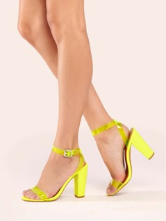 Clear Neon Bands Buckled Ankle Chunky Heel Sandals
