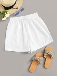 Solid Drawstring Waist Slant Pocket Shorts
