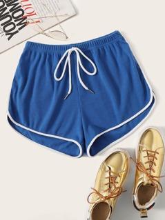 Drawstring Waist Dolphin Shorts