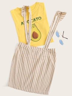 Striped Ruffle Trim Suspender Pencil Skirt