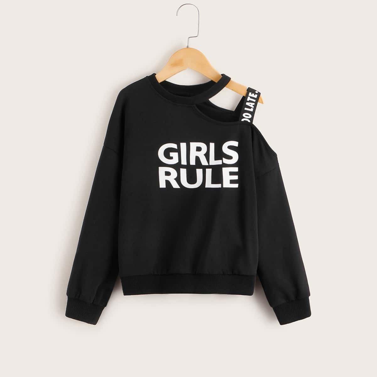 Пуловер на одно плечо с текстовым принтом для девочек от SHEIN