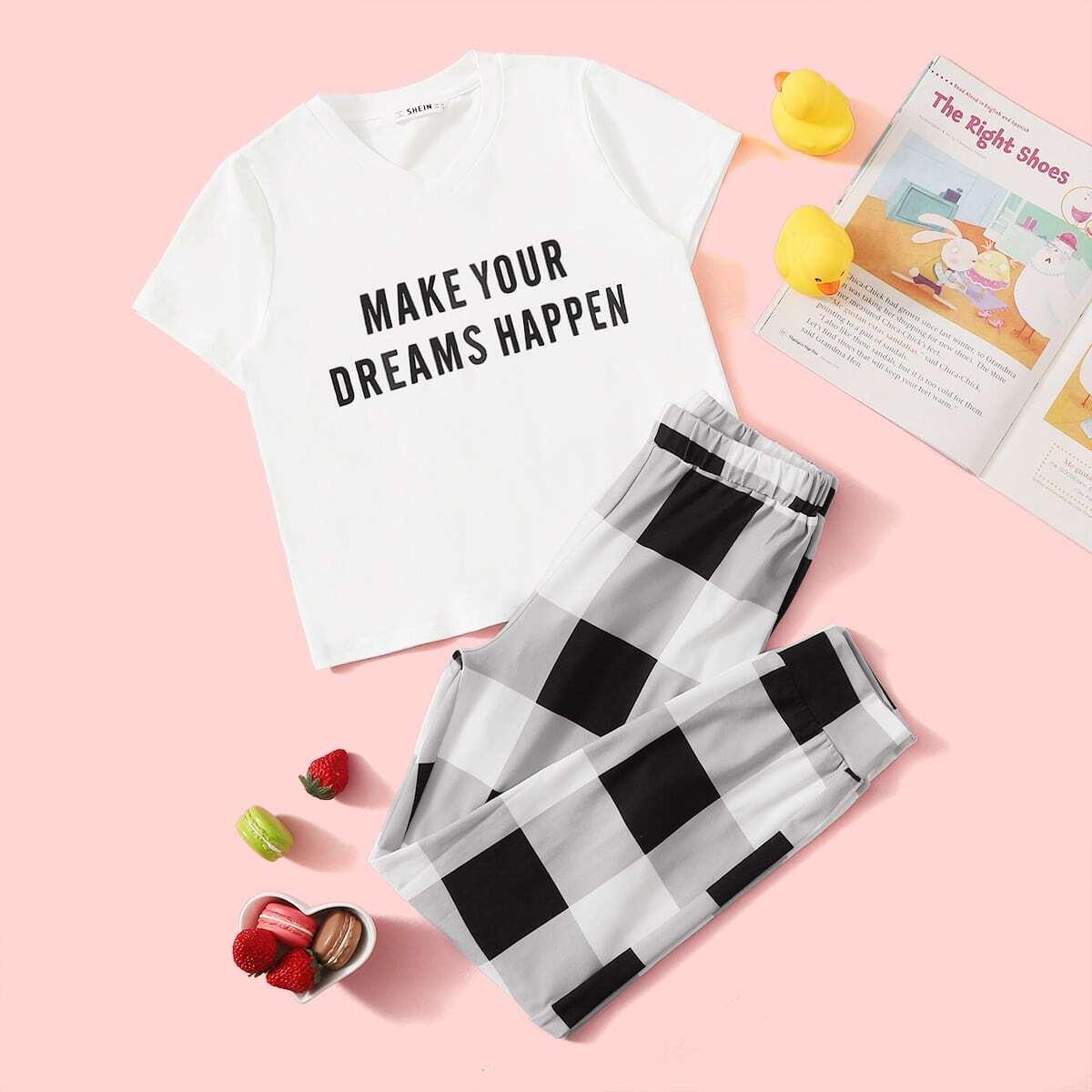 Пижама в клетку с текстовым принтом для девочек от SHEIN