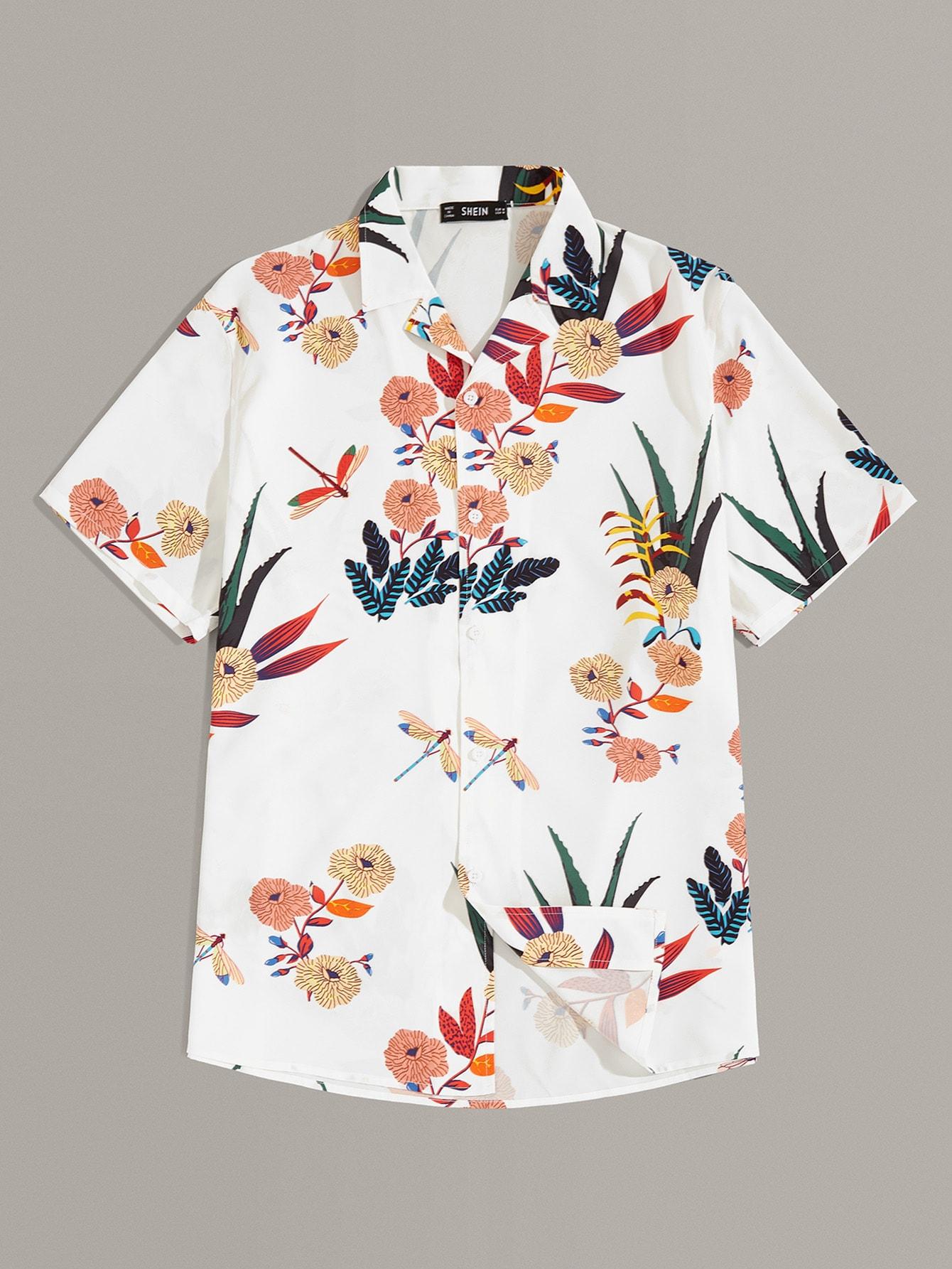 Фото - Мужская рубашка с ботаническим принтом от SheIn белого цвета