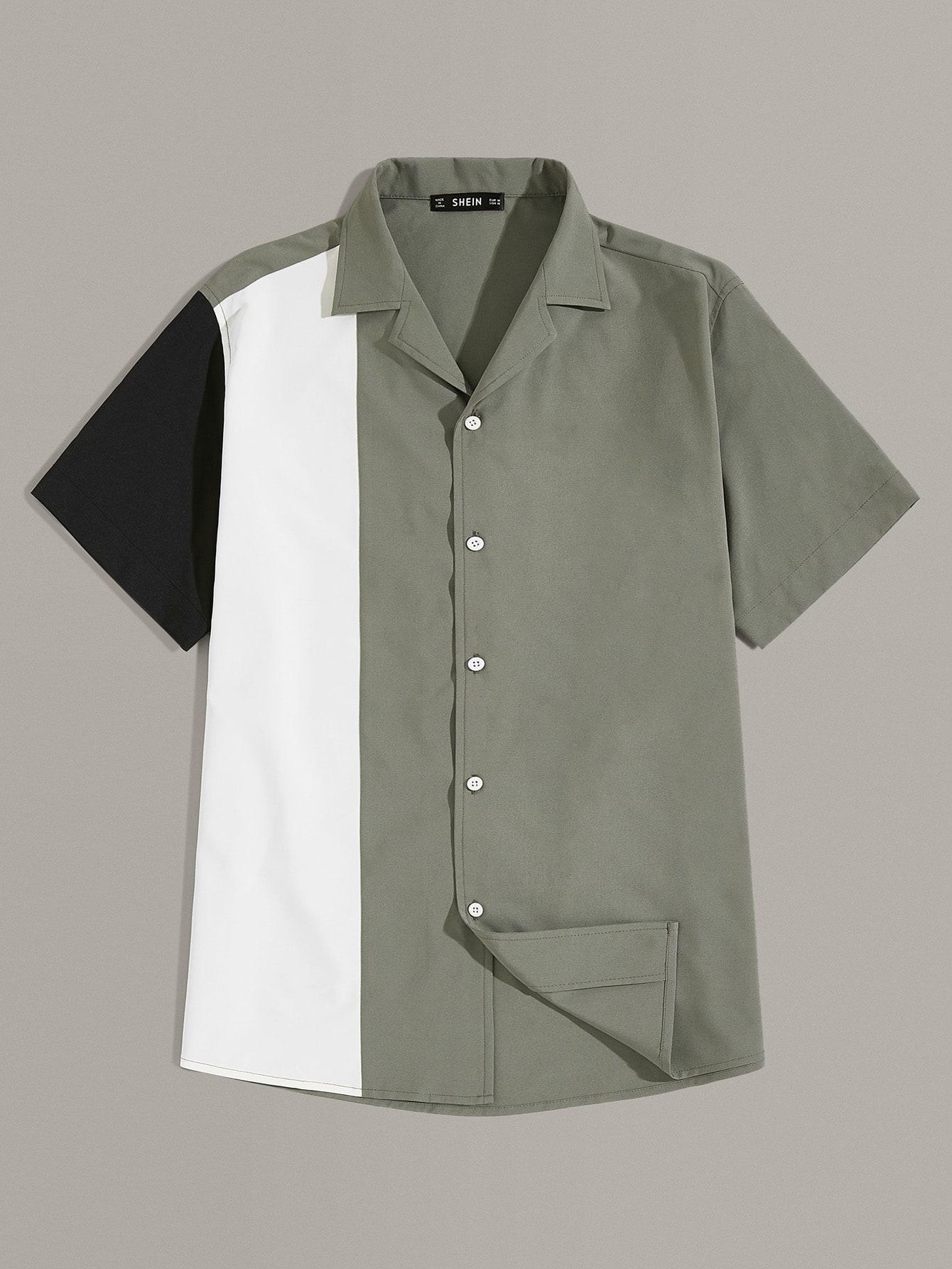 Фото - Мужская контрастная рубашка от SheIn цвет многоцветный