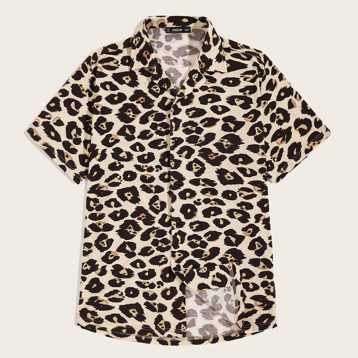 Veel kleurig Casual Luipaard Overhemden voor heren Voorpand met Knoopjes
