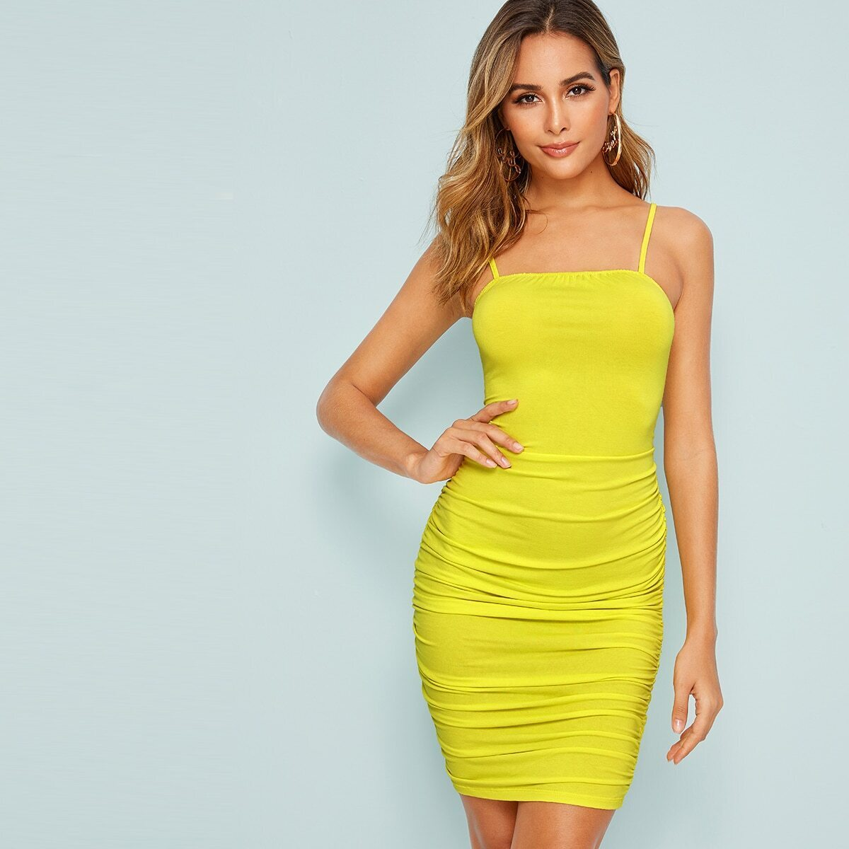 Bow Tie Back Ruched Bodycon Cami Dress