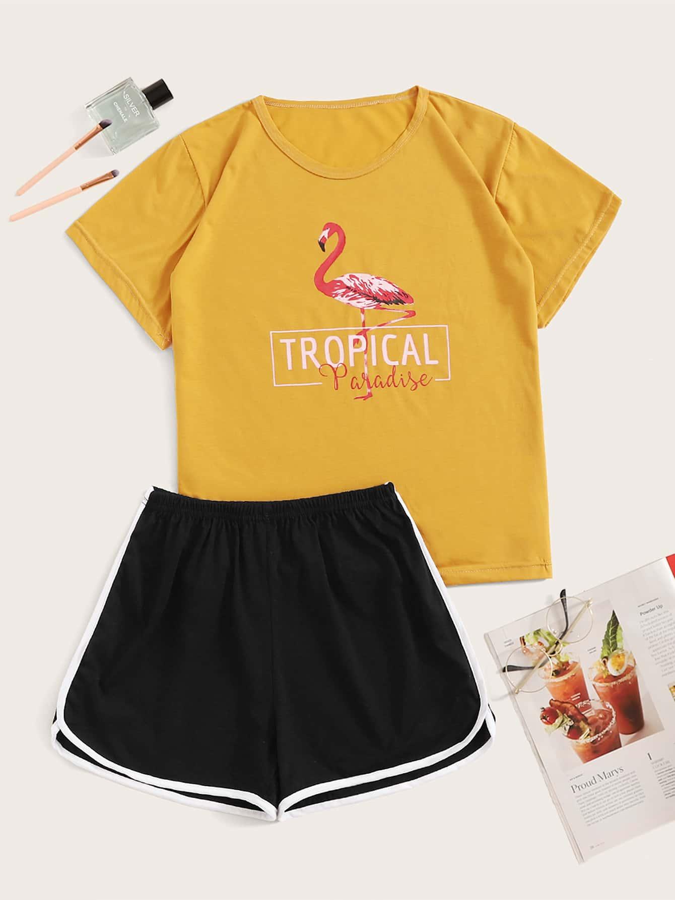 Фото - Пижама с текстовым и графическим принтом от SheIn цвет многоцветный