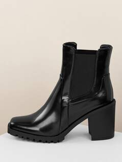 Lug Sole Chunky Heel Pull On Chelsea Boots