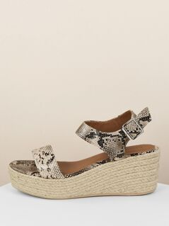 Snakeskin Open Toe Buckled Ankle Jute Wedges