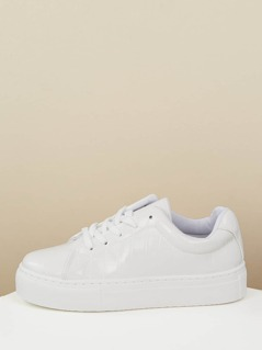 Lace Front Croc Embossed Flatform Sneakers