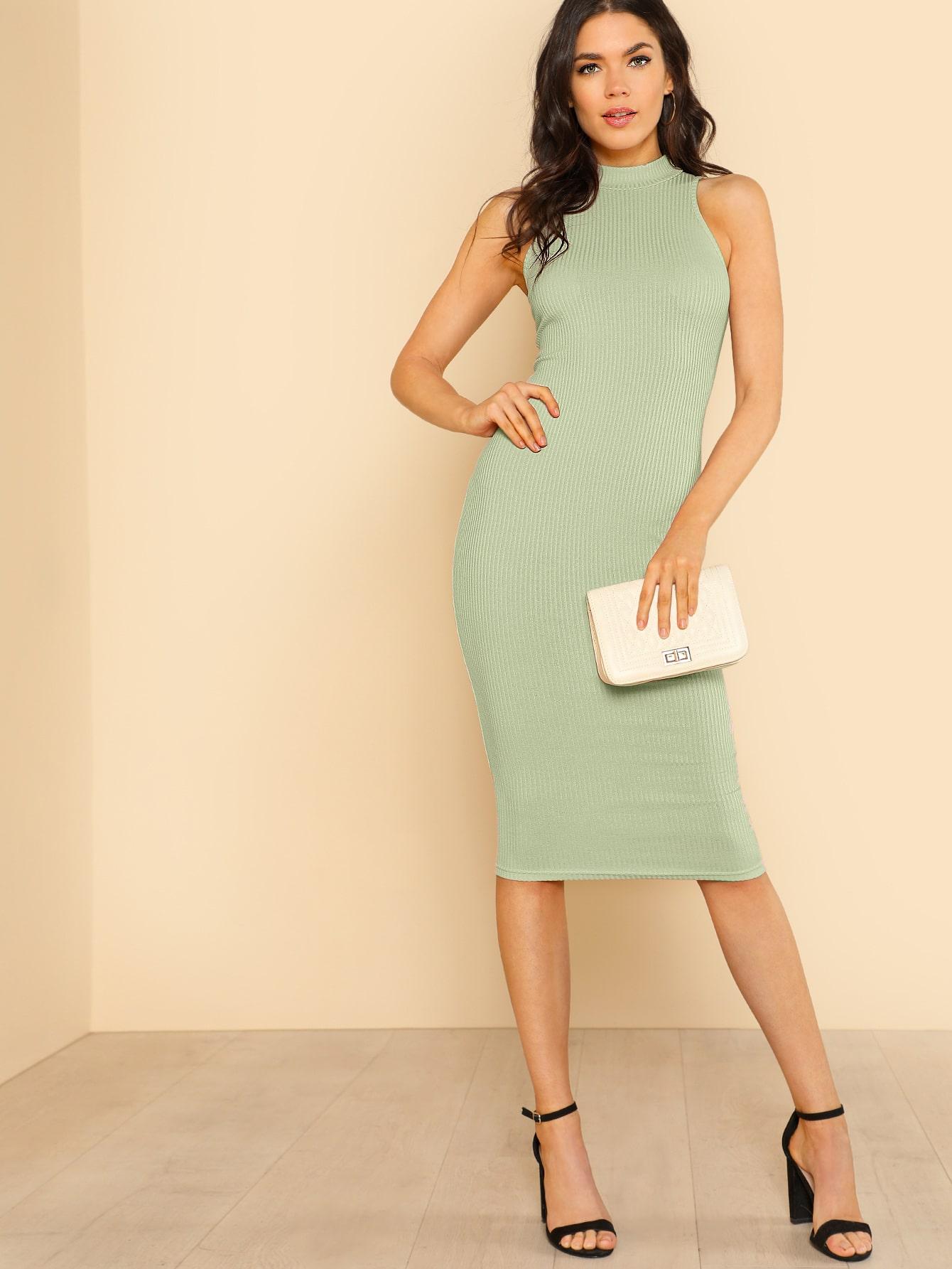 Фото - Однотонное вязаное ребристое платье-карандаш от SheIn цвет зелёные