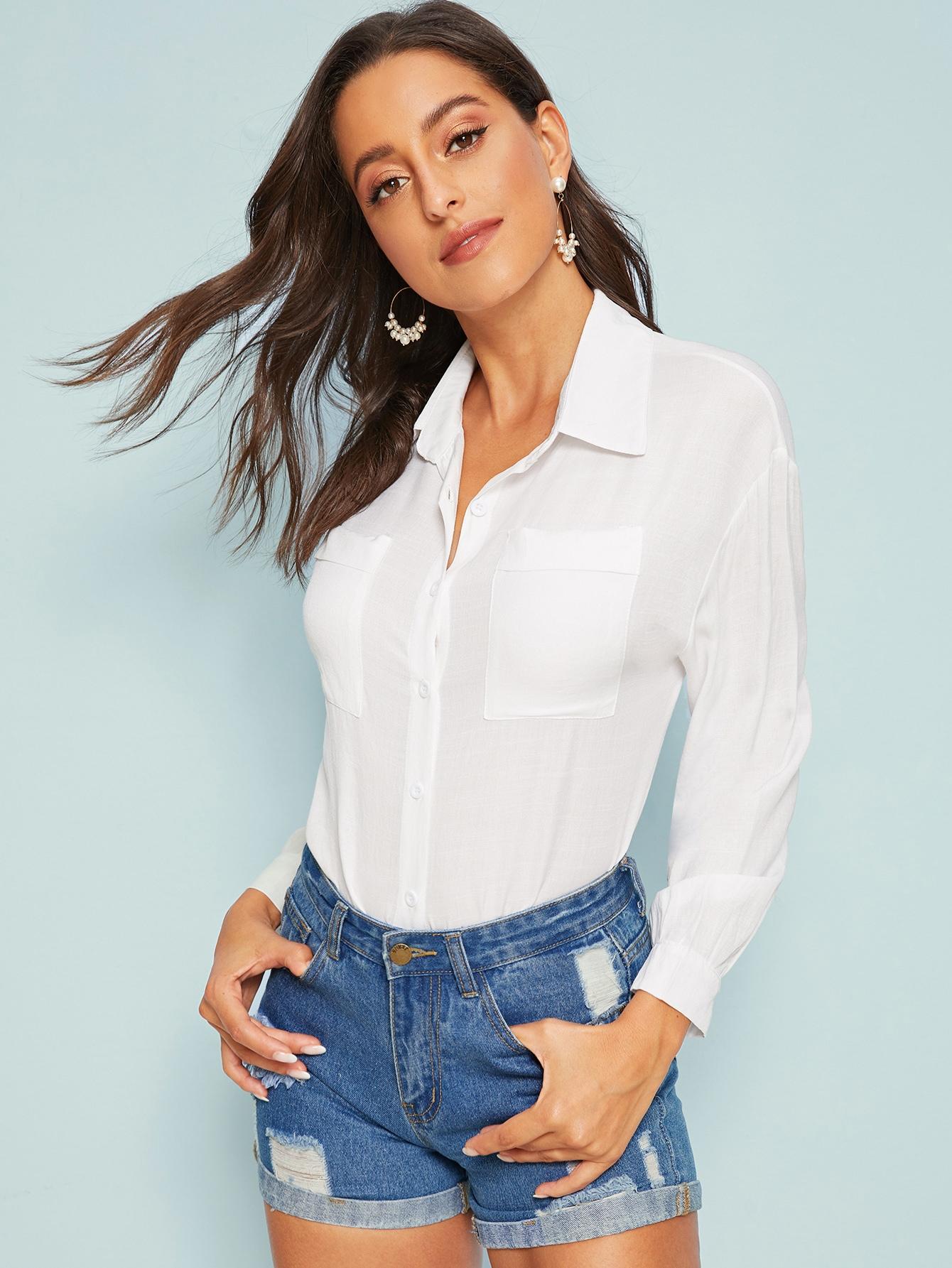 Фото - Однотонная блуза с карманом от SheIn белого цвета