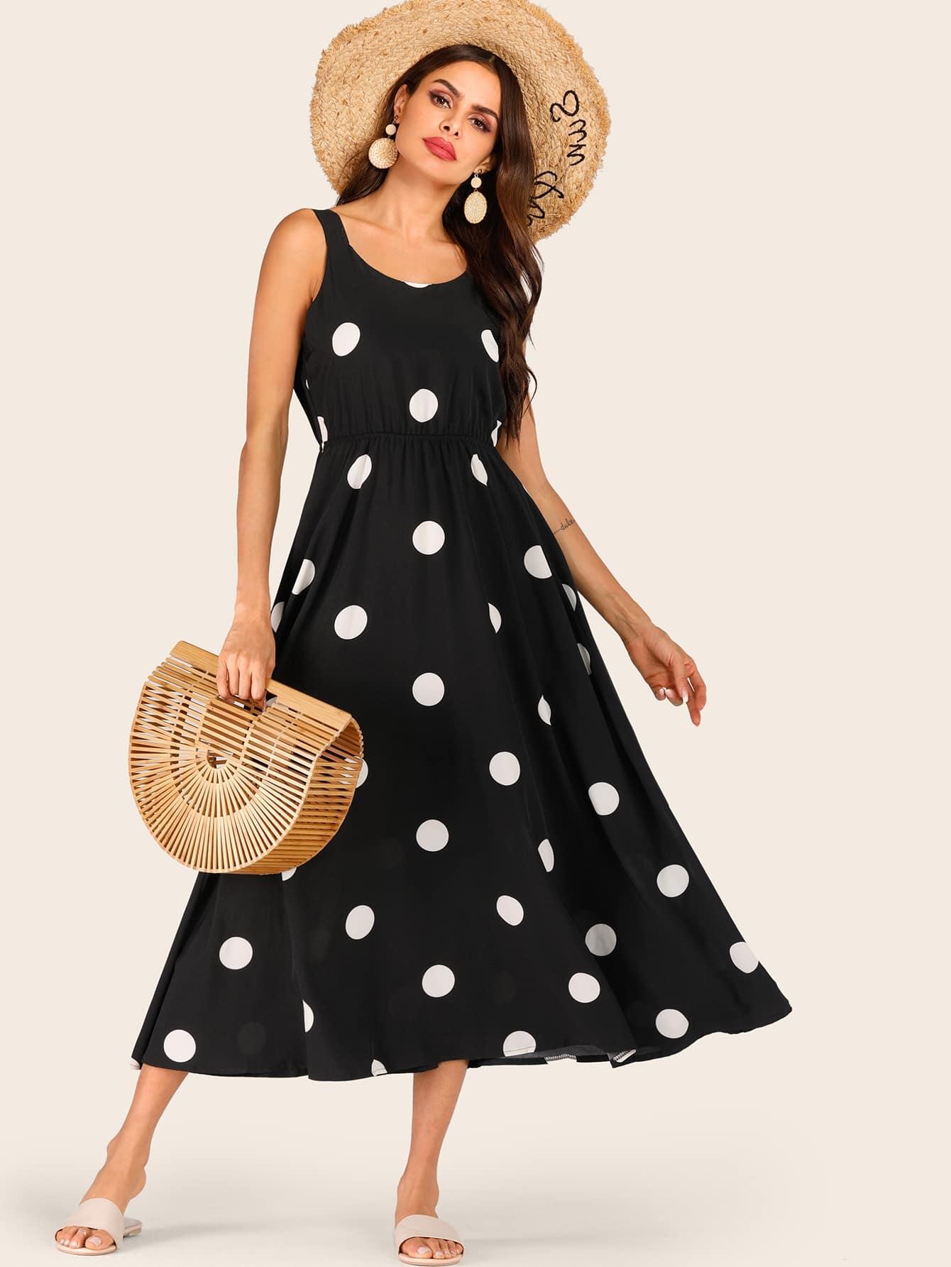 Фото - Платье в горошек с узлом сзади от SheIn цвет чёрные