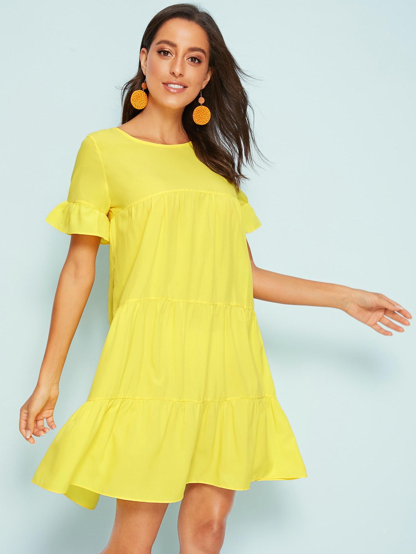 Фото - Однотонное платье с оригинальным рукавом от SheIn цвет жёлтые
