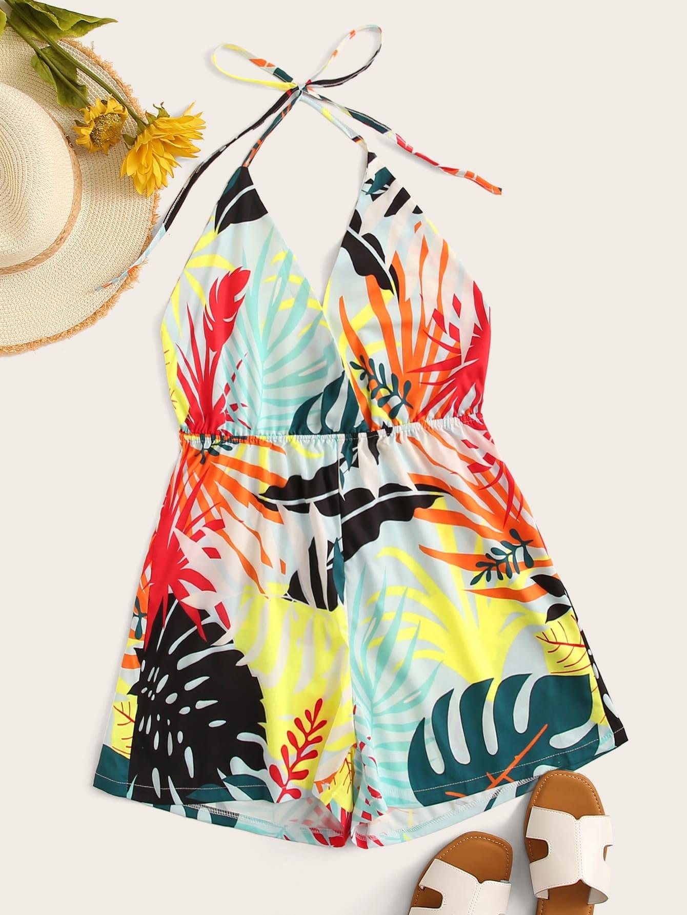 Фото - Комбинезон с открытой спинкой и тропическим принтом от SheIn цвет многоцветный