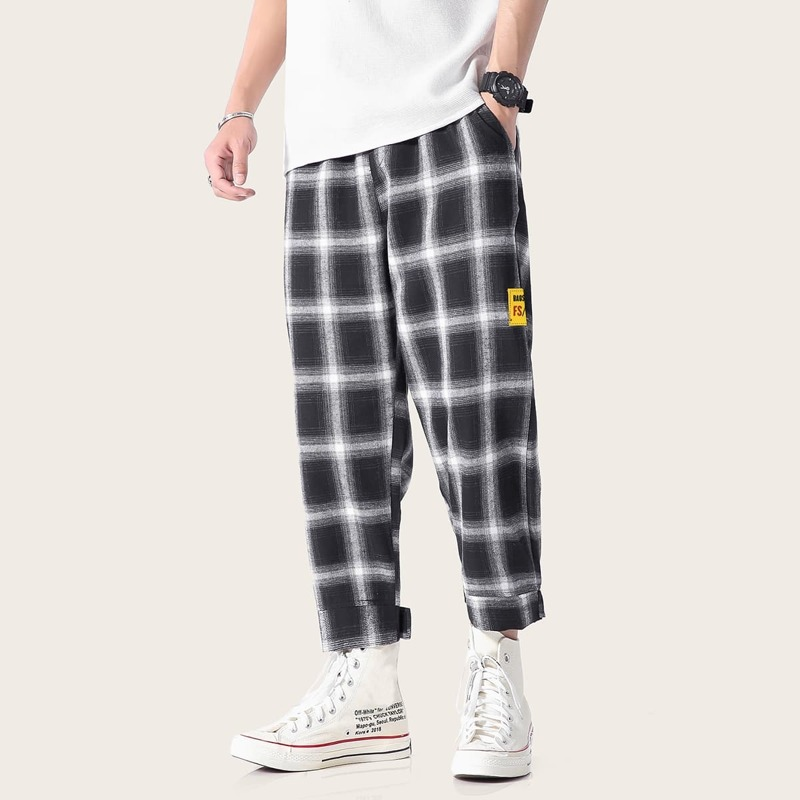 Guys Gingham Pocket Side Pants, Black and white