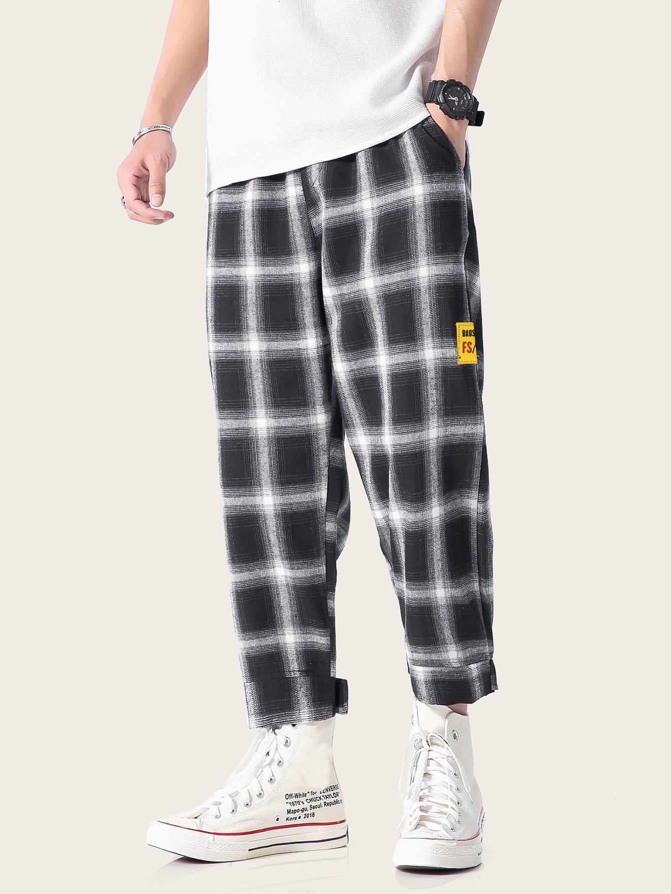 Фото - Мужские брюки в клетку с карманом от SheIn цвет чёрнобелые