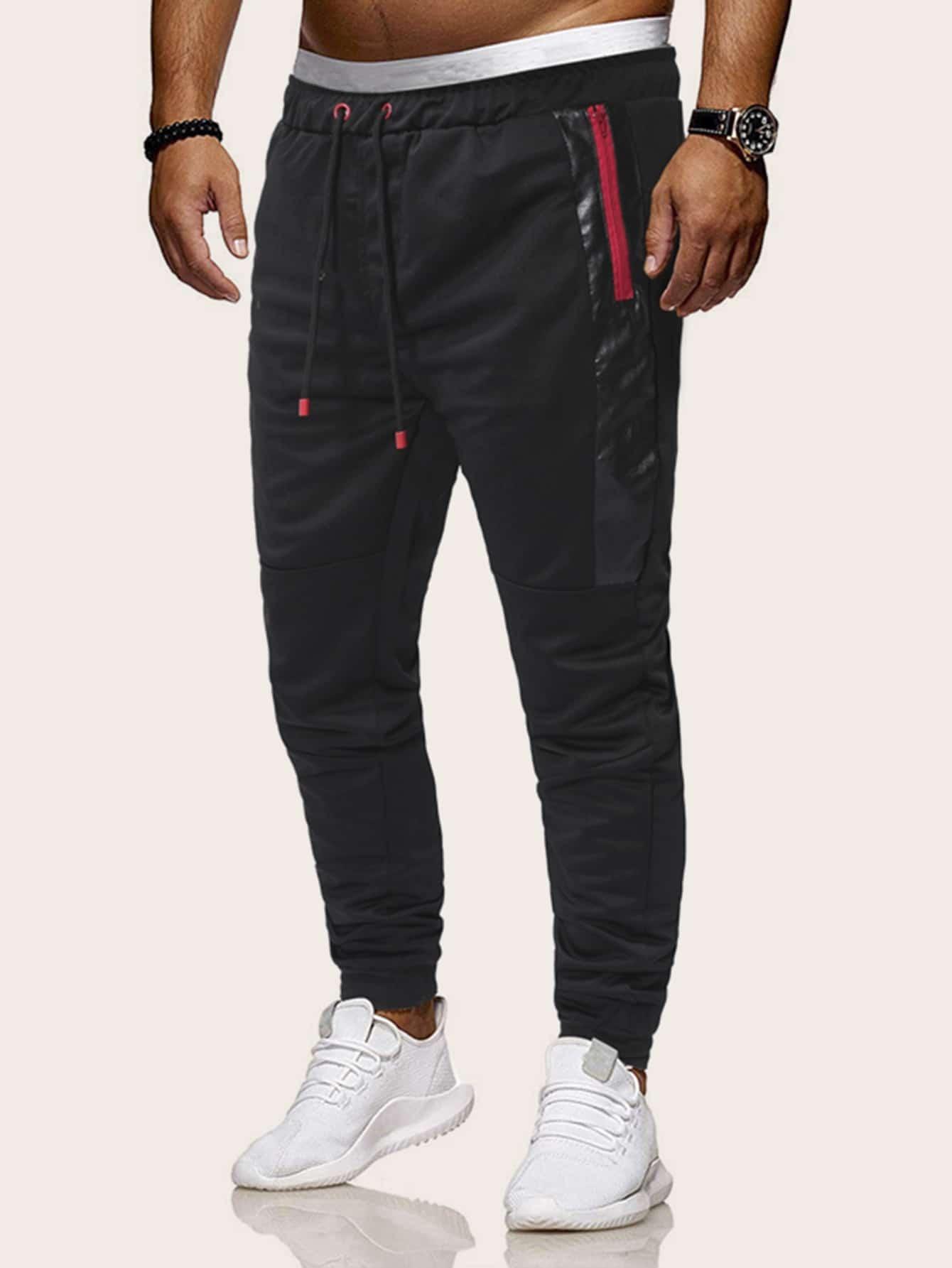 Фото - Мужские брюки на кулиске с молнией от SheIn черного цвета