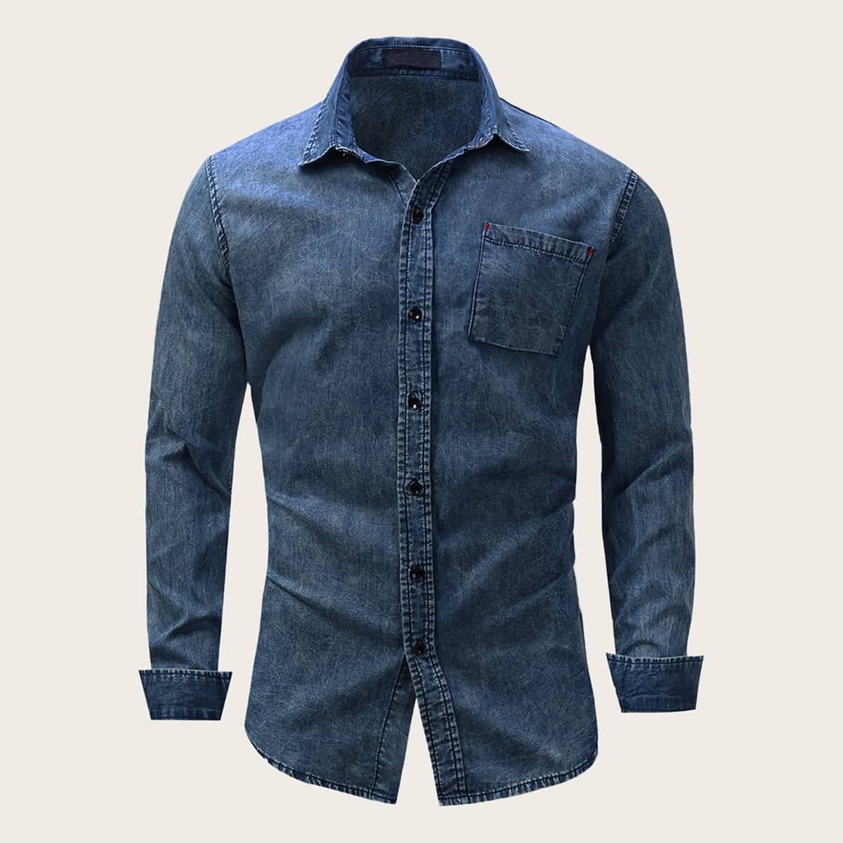 Marine Casual Heren Jeans overhemden Zak