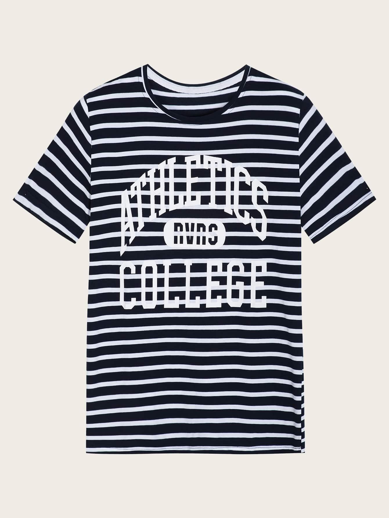 Фото - Мужская футболка в полоску с текстовым принтом от SheIn тёмно-синего цвета