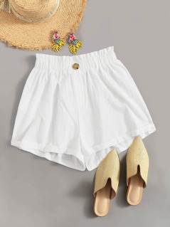 Solid Paperbag Waist Button Front Shorts