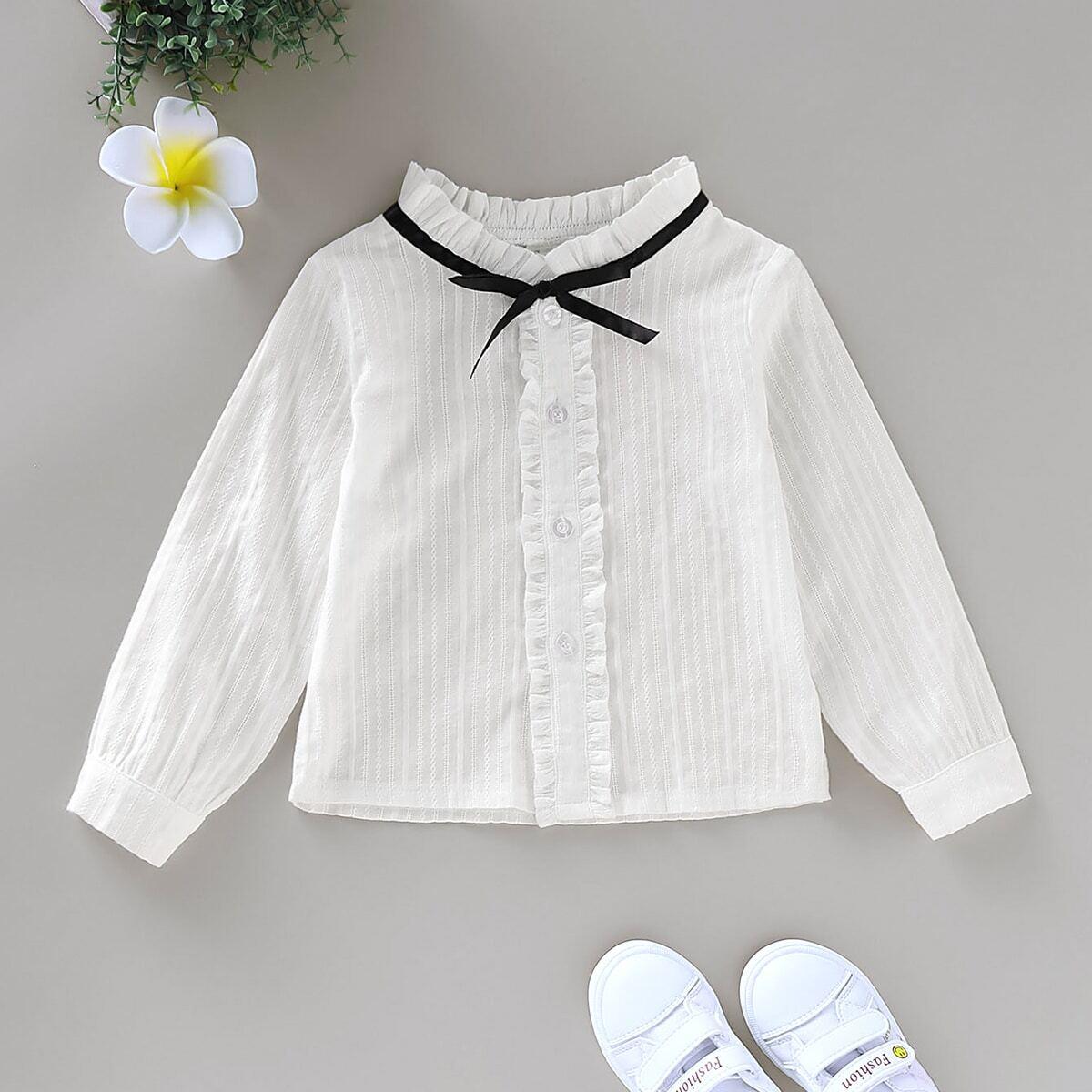 Блуза с узлом для девочек от SHEIN