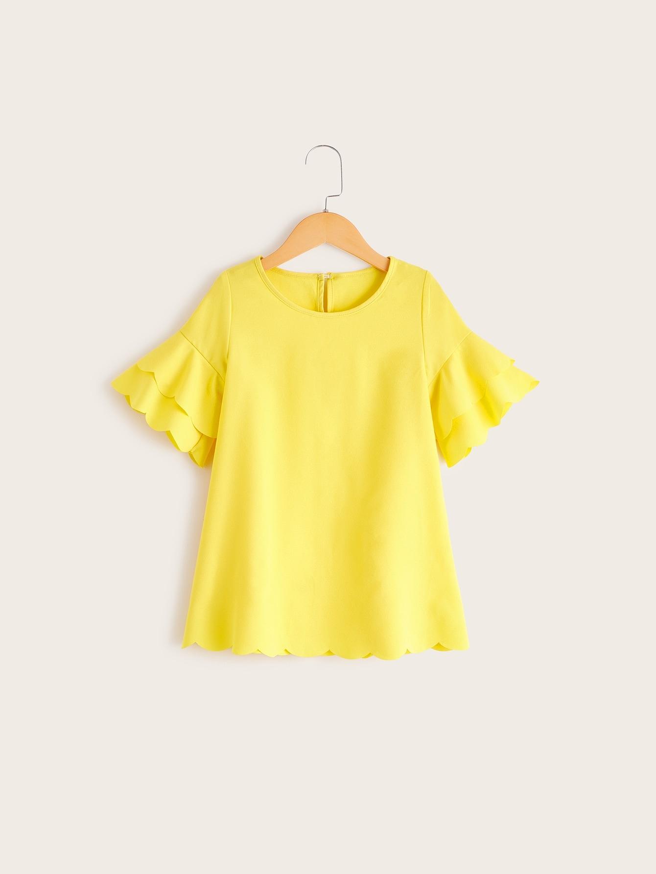 Фото - Платье с оригинальным рукавом для девочек от SheIn цвет жёлтые