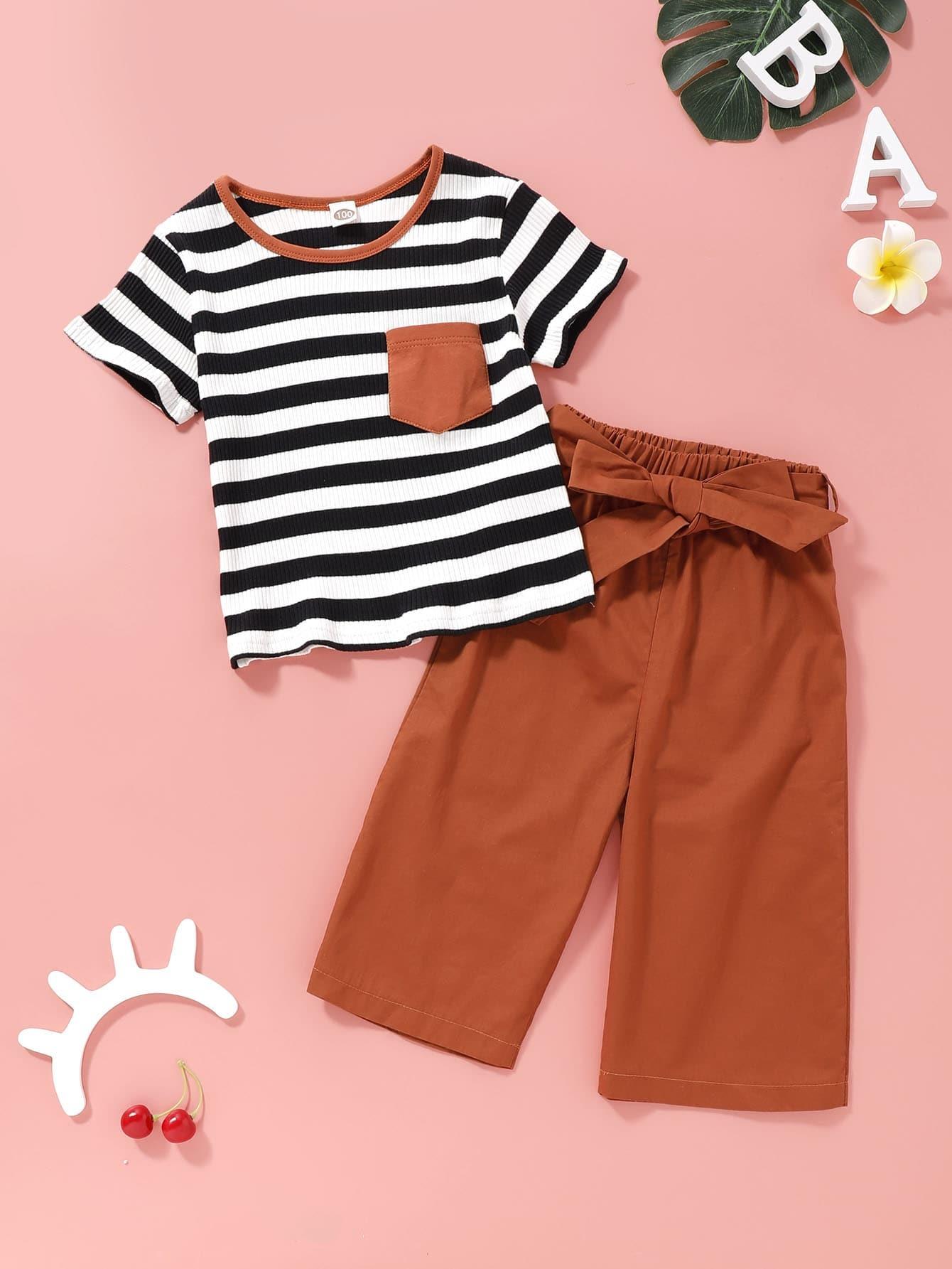 Фото - Полосатая вязаная ребристая футболка и брюки с завязкой для девочек от SheIn цвет многоцветный