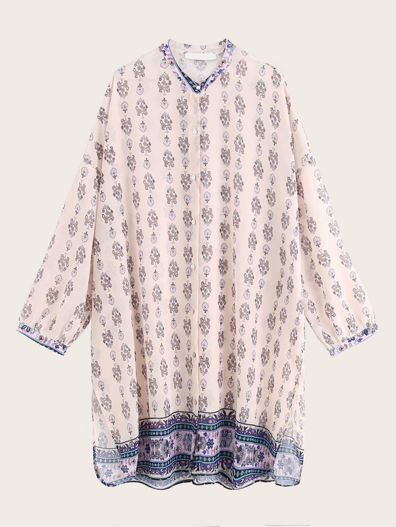 Фото - Блузу с разрезом и графическим принтом от SheIn цвет многоцветный