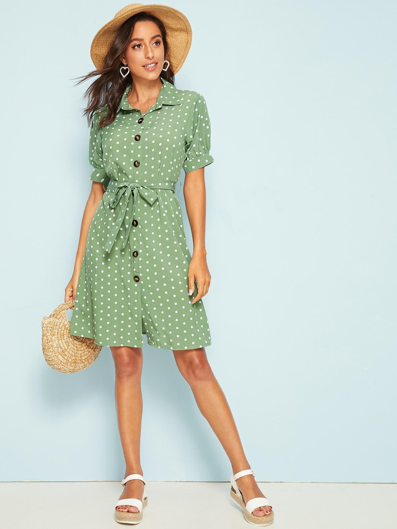 Фото - Платье в горошек с поясом от SheIn цвет зелёные