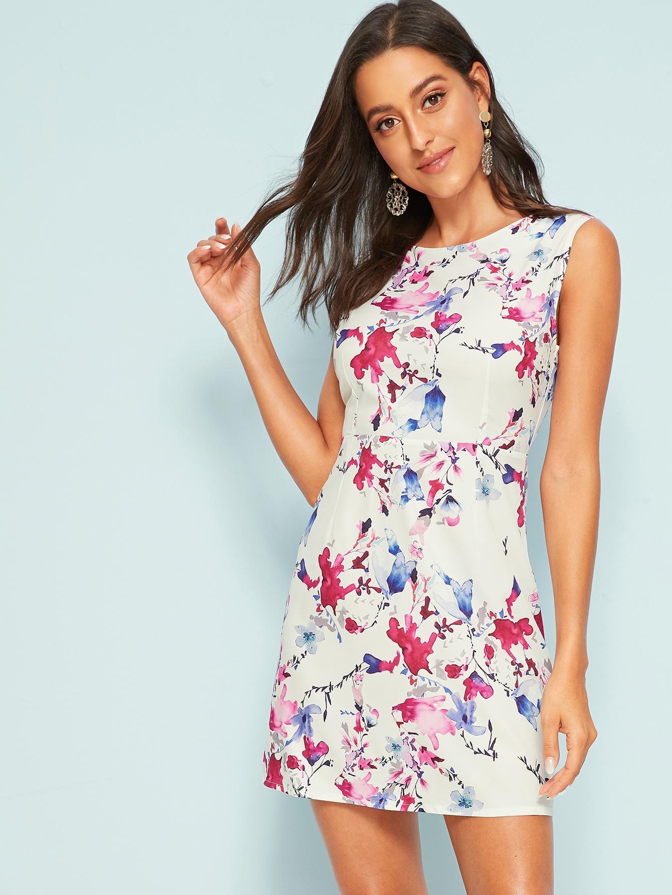 Фото - Платье с цветочным принтом и молнией без рукавах от SheIn цвет многоцветный