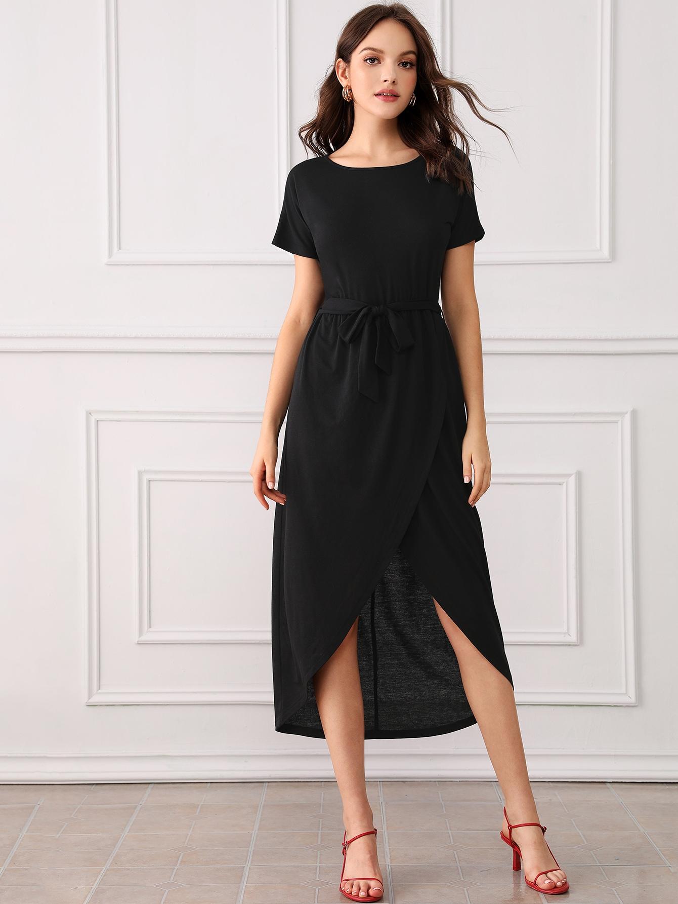 Фото - Однотонное платье с поясом от SheIn цвет чёрные