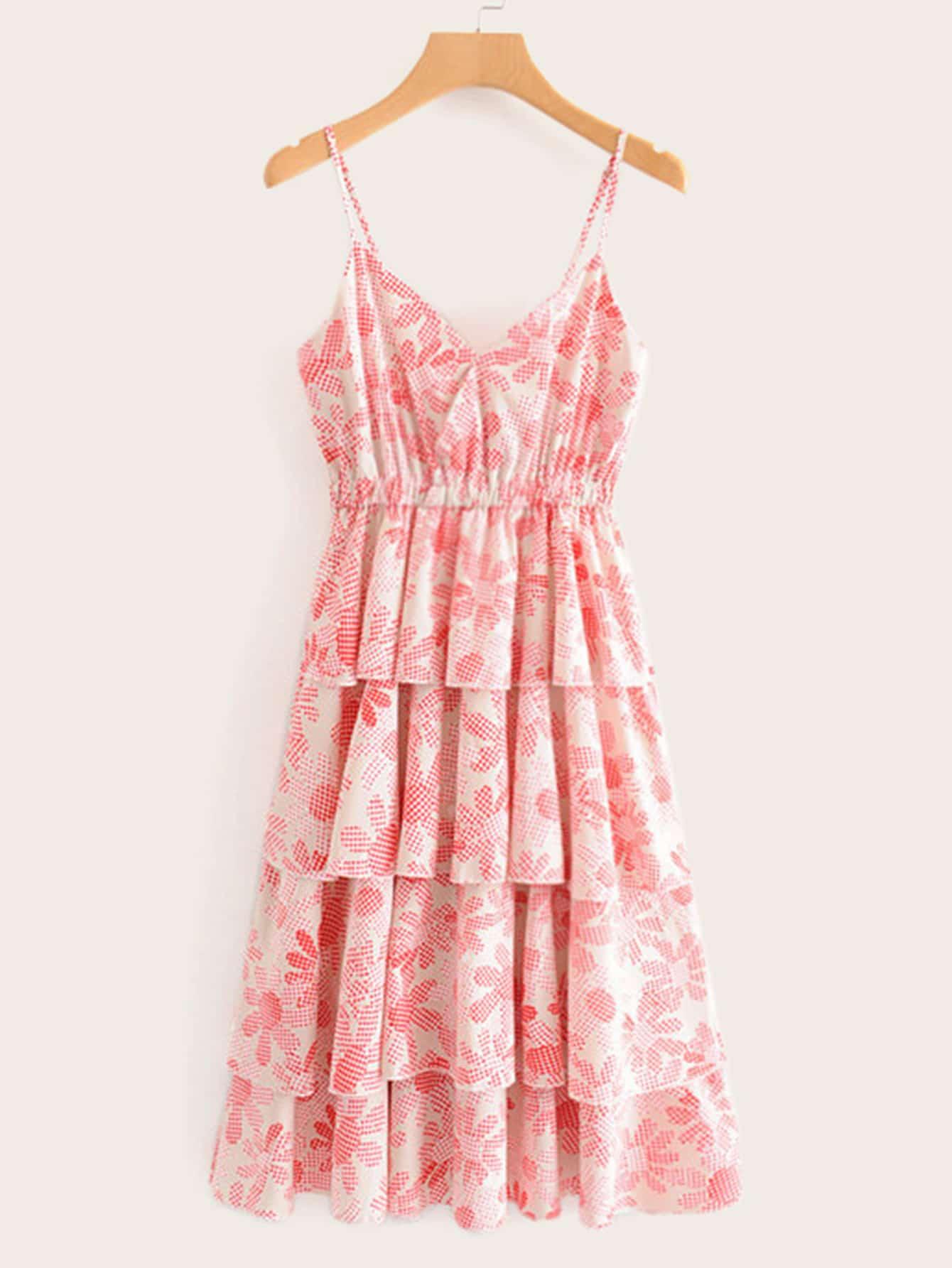 Фото - Многослойное платье в клетку от SheIn цвет розовые