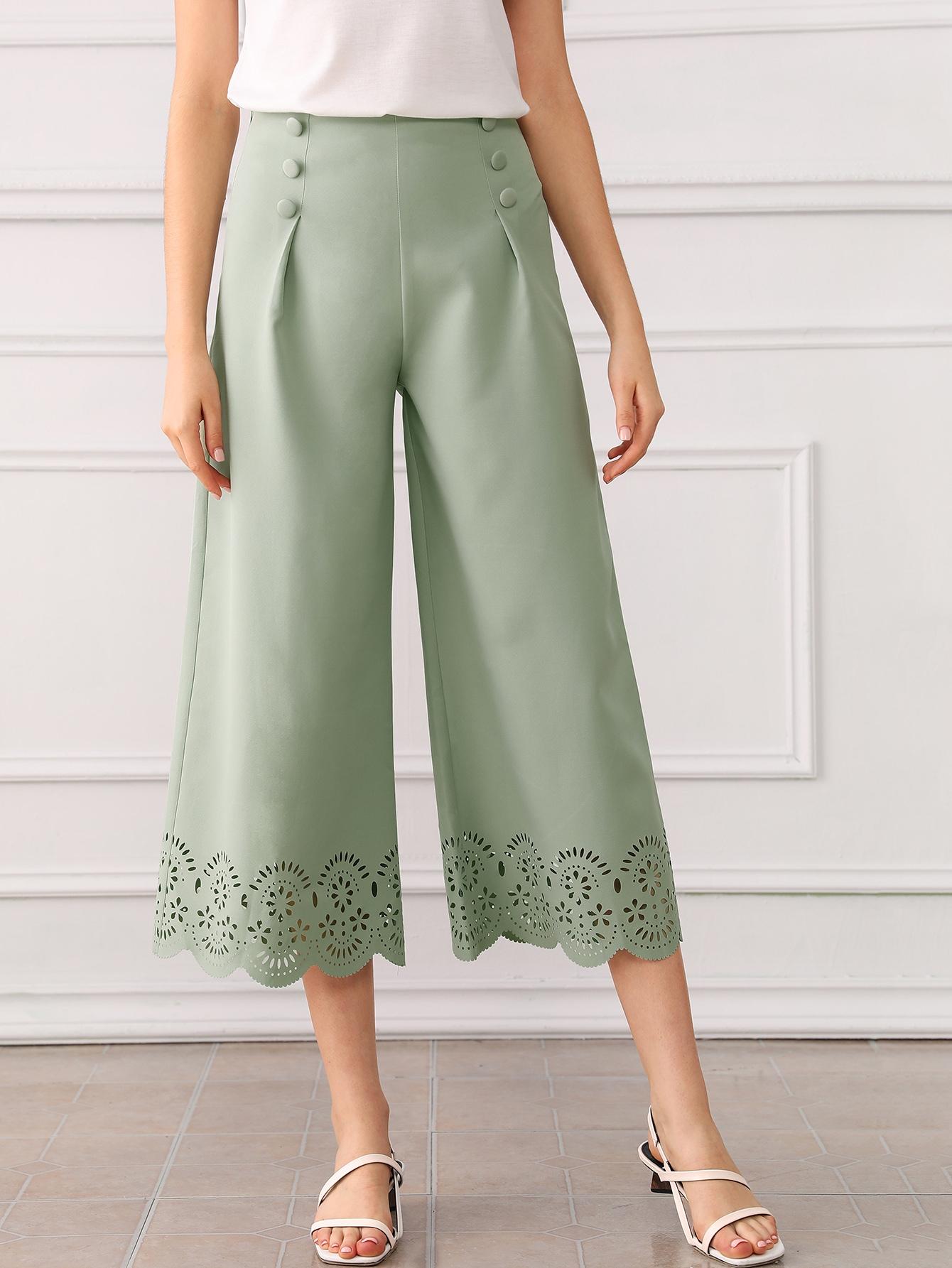Фото - Широкие брюки с кружевом и пуговицами от SheIn зеленого цвета
