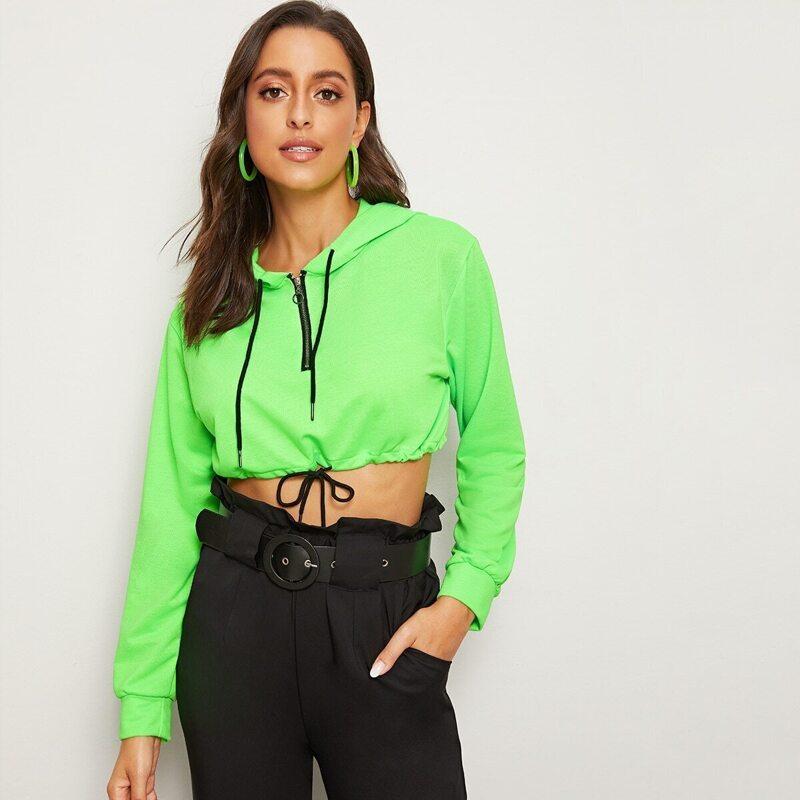 Drawstring Hem Half Zip Crop Hooded Sweatshirt, Green bright