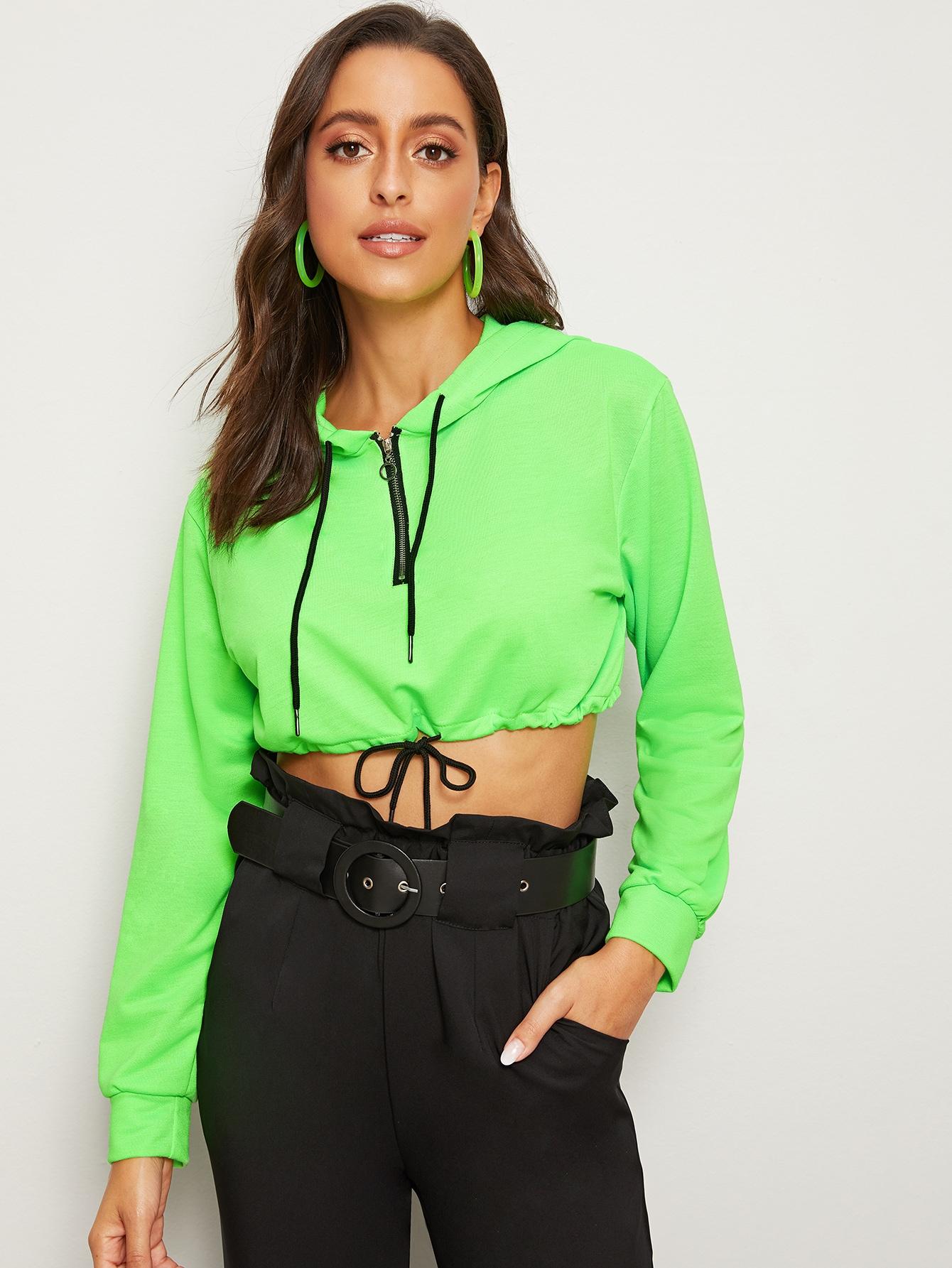 Фото - Кроп свитшот с капюшоном и молнией от SheIn зеленого цвета