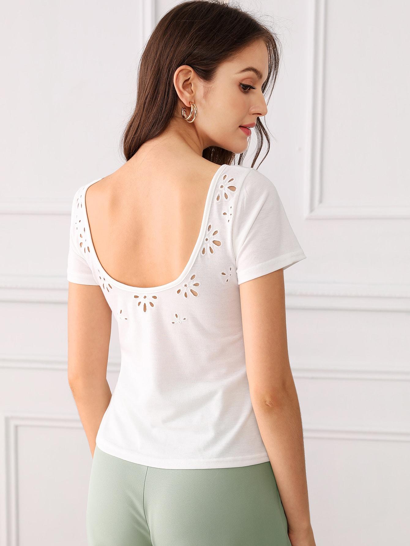 Фото - Однотонная футболка с кружевом от SheIn белого цвета