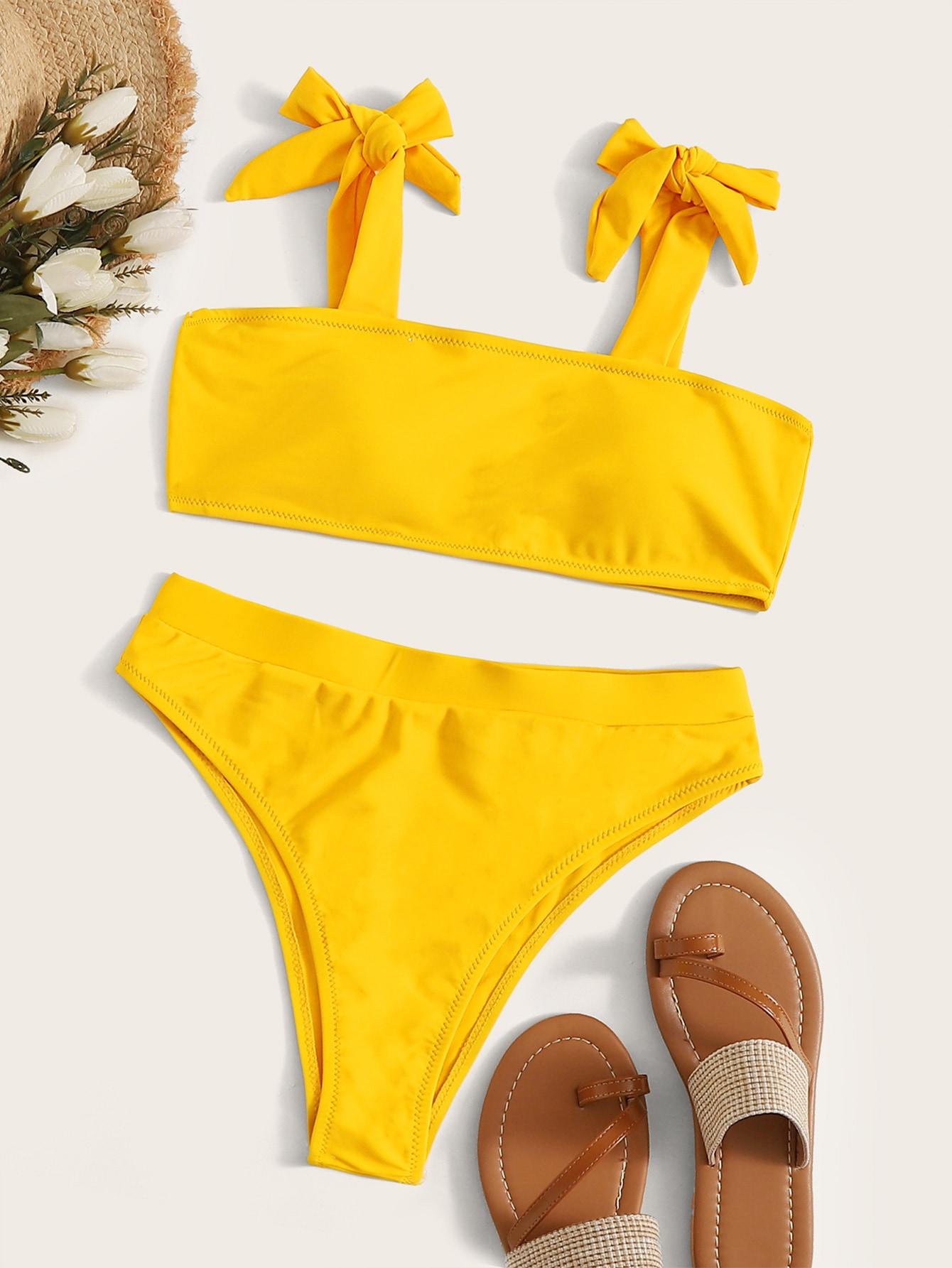 Фото - Бикини с высокой талией и узлом на плечах от SheIn желтого цвета